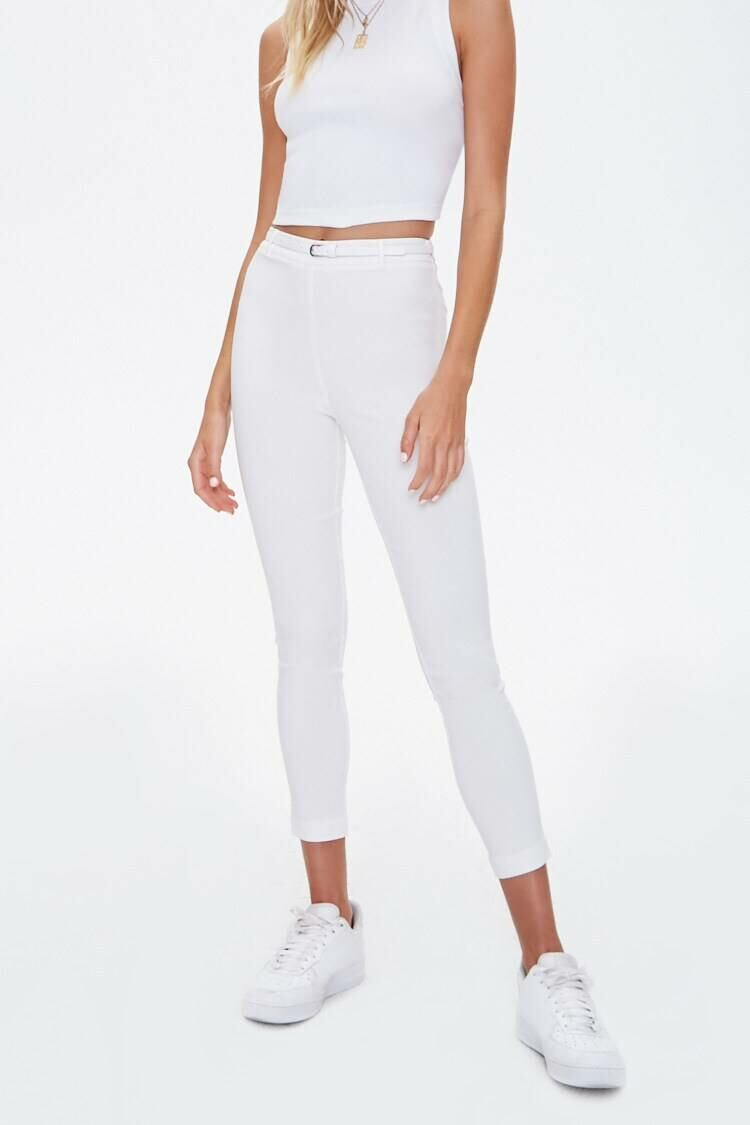 Forever 21 White Belted High-Rise Harper Pants WOMEN Women FASHION Womens TROUSERS