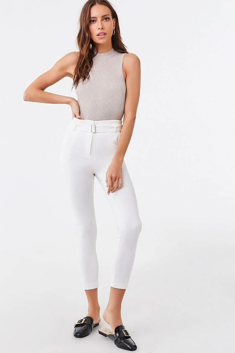 Forever 21 White Belted High-Rise Pants WOMEN Women FASHION Womens TROUSERS