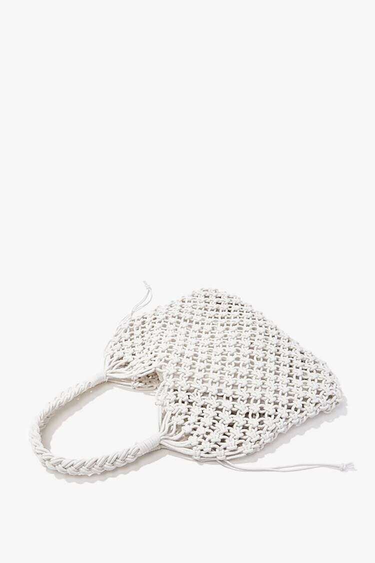 Forever 21 White Braided Open-Knit Tote Bag WOMEN Women ACCESSORIES Womens BAGS
