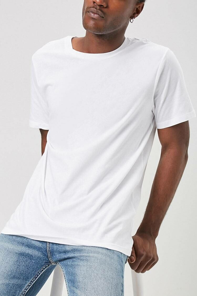Forever 21 White Classic Crew Neck Tee MEN Men FASHION Mens T-SHIRTS