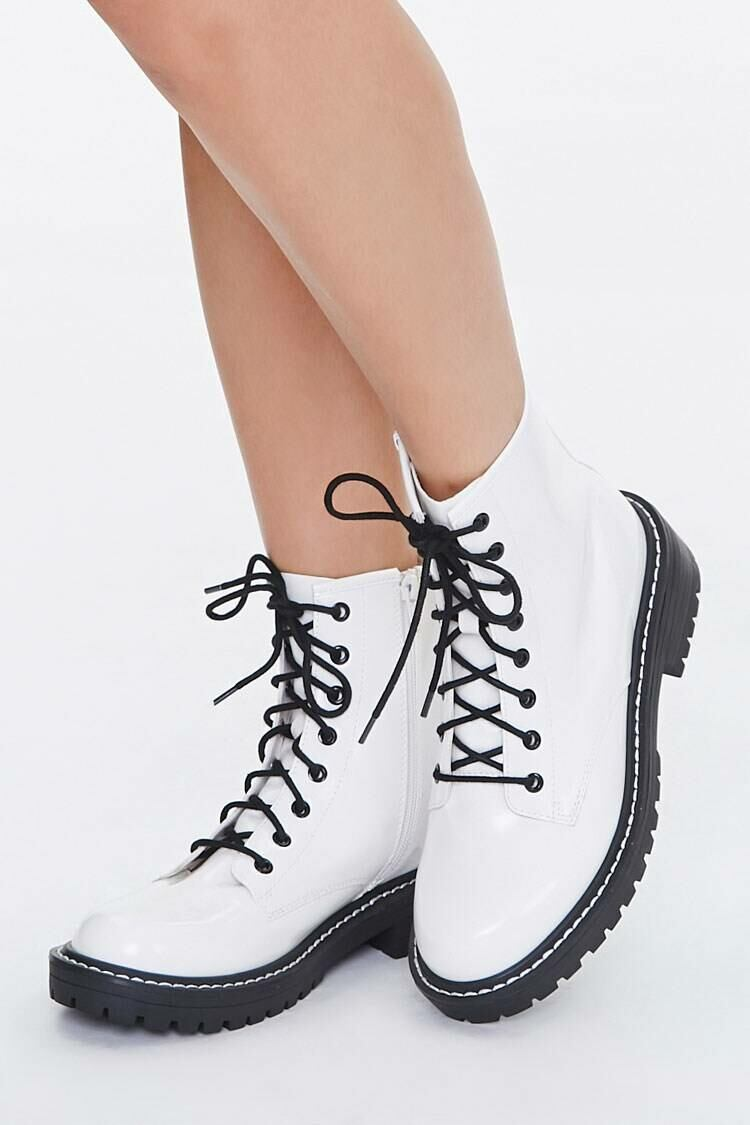 Forever 21 White Faux Leather Ankle Boots (Wide) WOMEN Women SHOES Womens ANKLE BOOTS