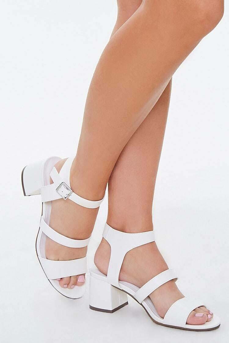 Forever 21 White Faux Leather Ankle-Strap Heels WOMEN Women SHOES Womens HIGH HEELS