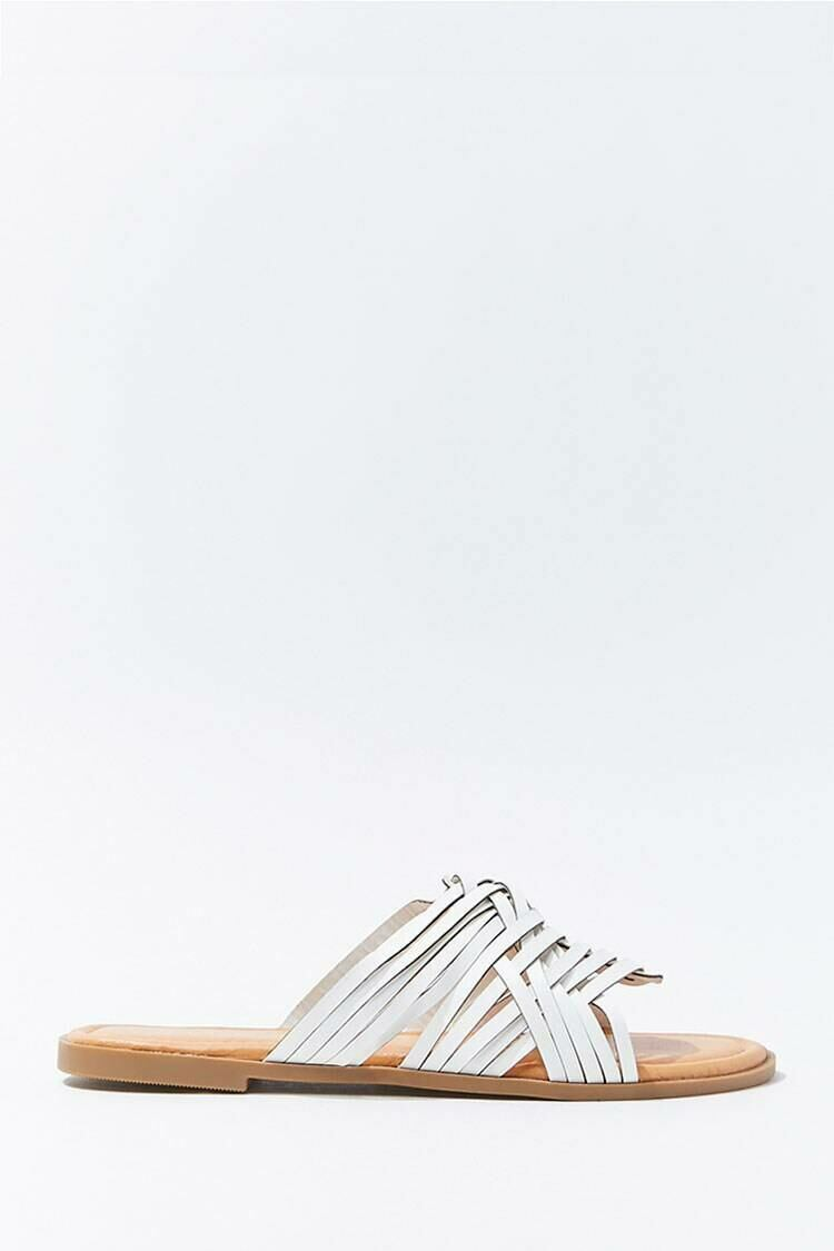 Forever 21 White Faux Leather Basketwoven Sandals WOMEN Women SHOES Womens SANDALS