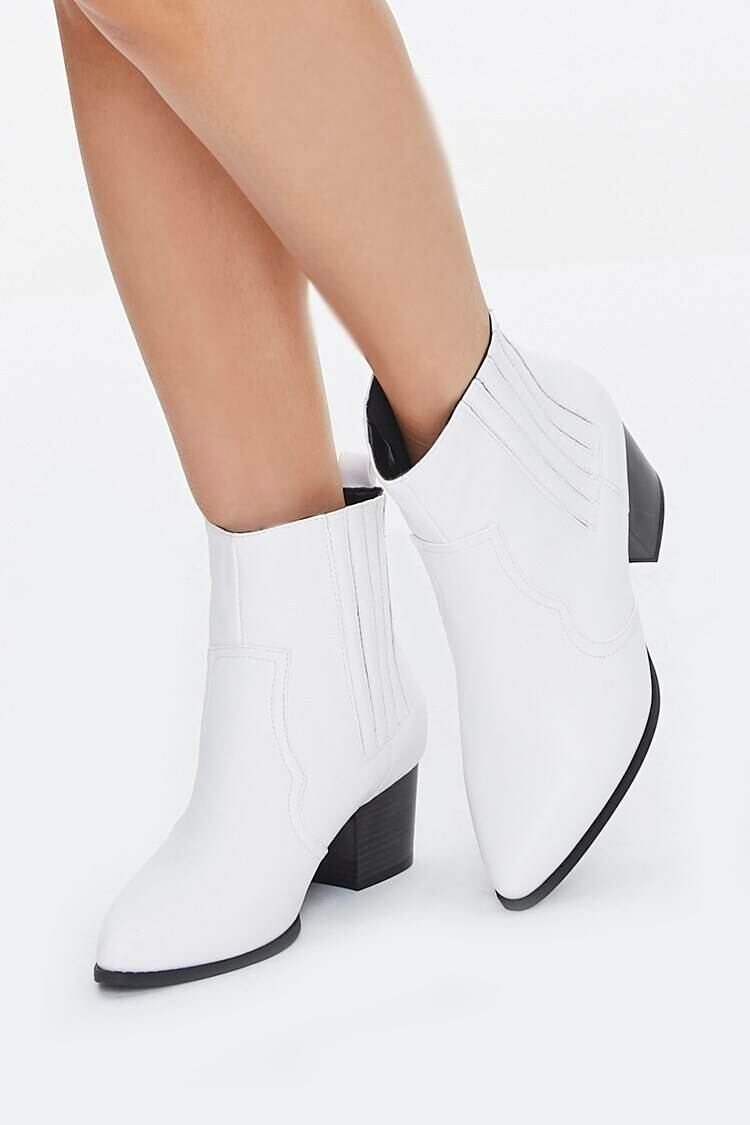 Forever 21 White Faux Leather Pointed Toe Booties WOMEN Women SHOES Womens ANKLE BOOTS