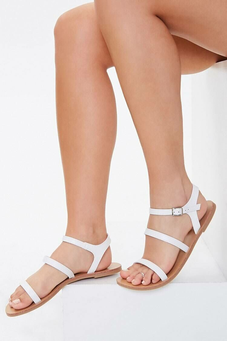 Forever 21 White Faux Leather Strappy Sandals WOMEN Women SHOES Womens SANDALS