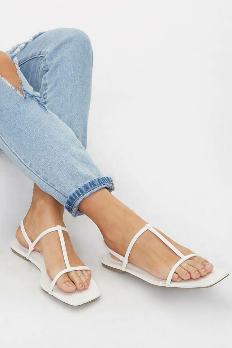 Forever 21 White Faux Leather T-Strap Sandals WOMEN Women SHOES Womens SANDALS