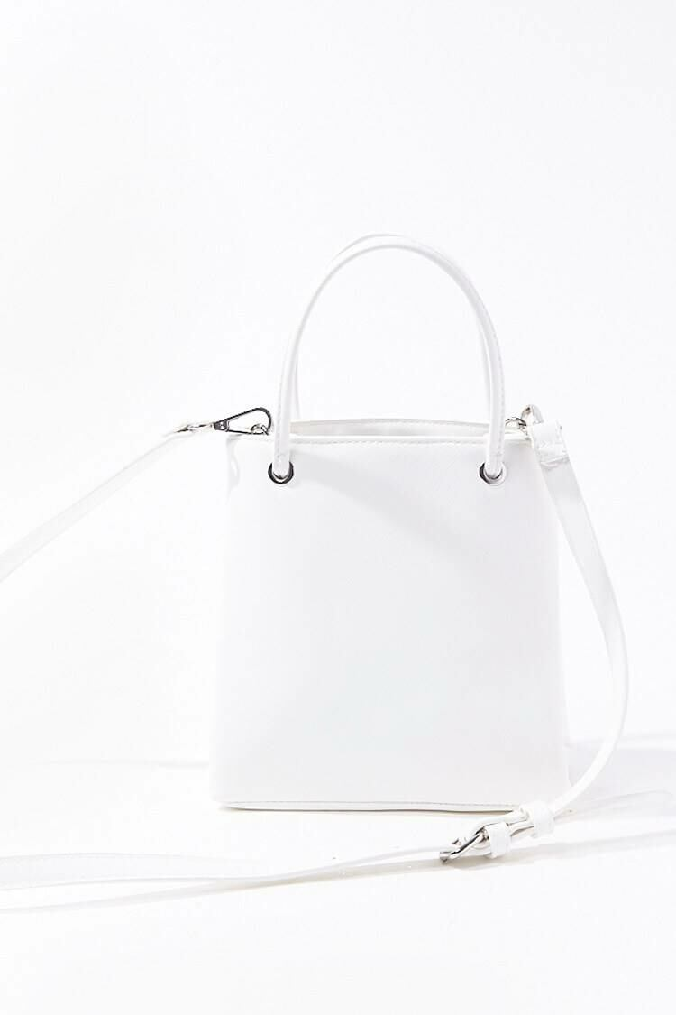 Forever 21 White Faux Leather Tote Bag WOMEN Women ACCESSORIES Womens BAGS