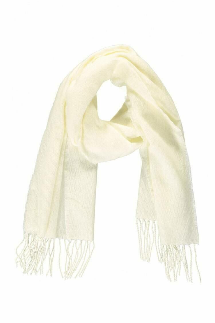 Forever 21 White Fringe-Trim Oblong Scarf WOMEN Women ACCESSORIES Womens SCARFS