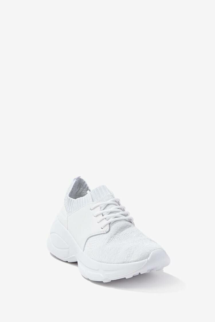 Forever 21 White Low-Top Lace-Up Sneakers WOMEN Women FASHION Womens TOPS