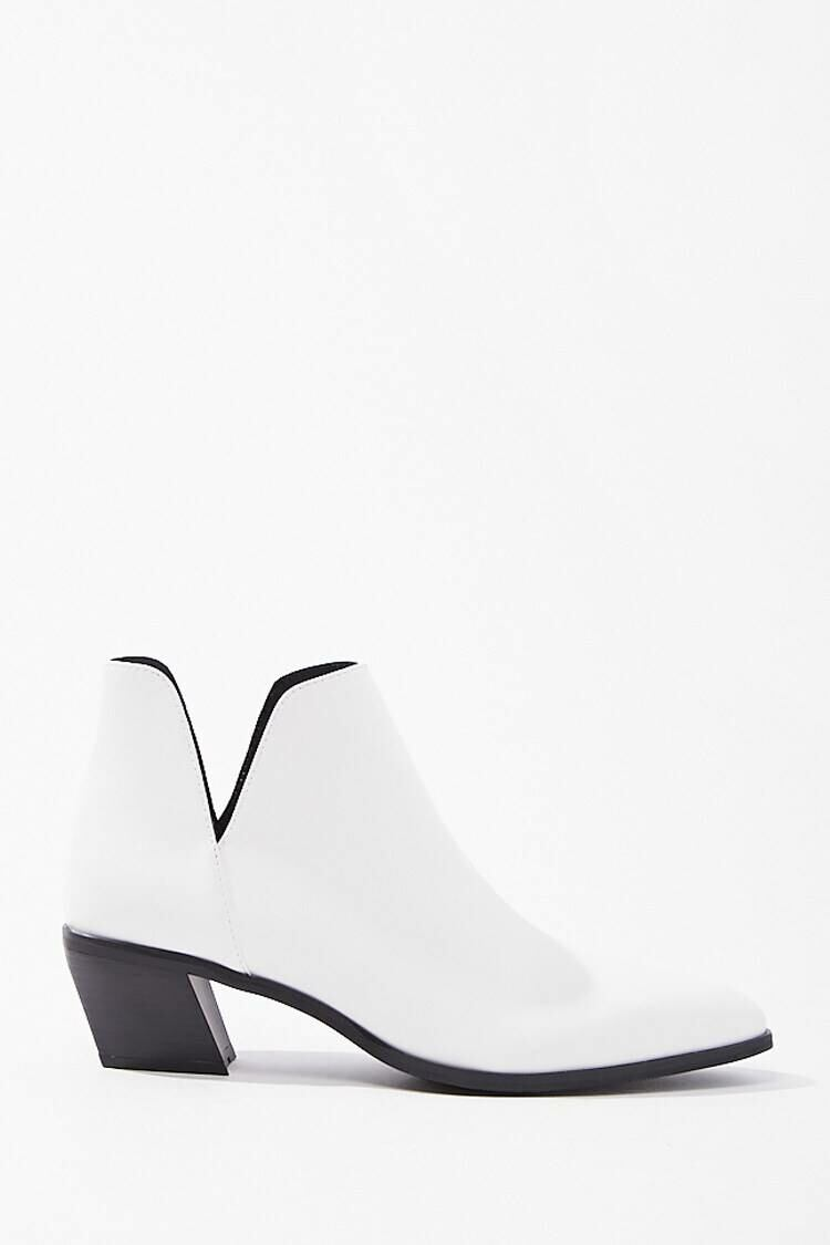 Forever 21 White Notched Faux Leather Booties WOMEN Women SHOES Womens ANKLE BOOTS