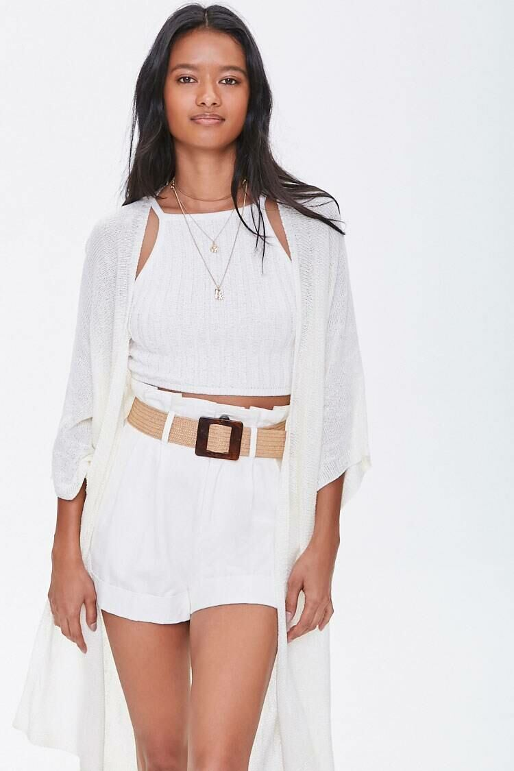 Forever 21 White Open-Front Slub Knit Cardigan WOMEN Women FASHION Womens KNITWEAR