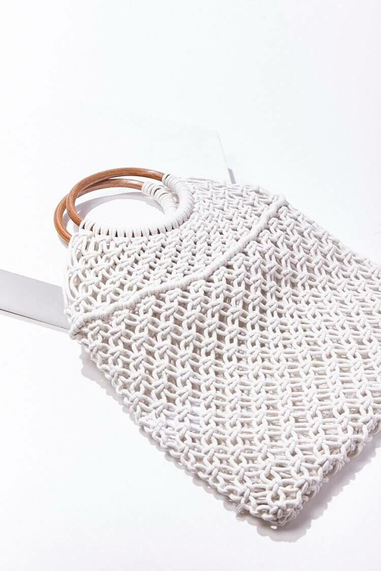 Forever 21 White Open-Knit Tote Bag WOMEN Women ACCESSORIES Womens BAGS
