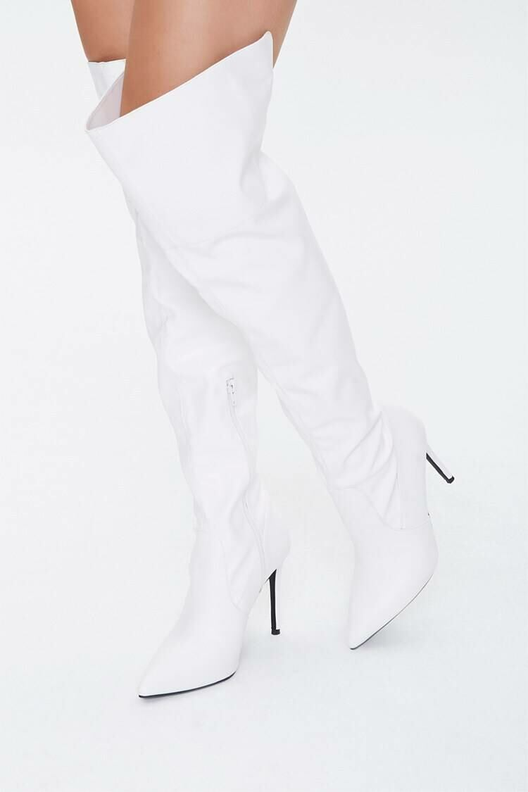 Forever 21 White Over-the-Knee Stiletto Boots WOMEN Women SHOES Womens BOOTS