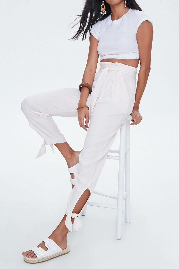 Forever 21 White Paperbag Ankle Pants WOMEN Women FASHION Womens TROUSERS