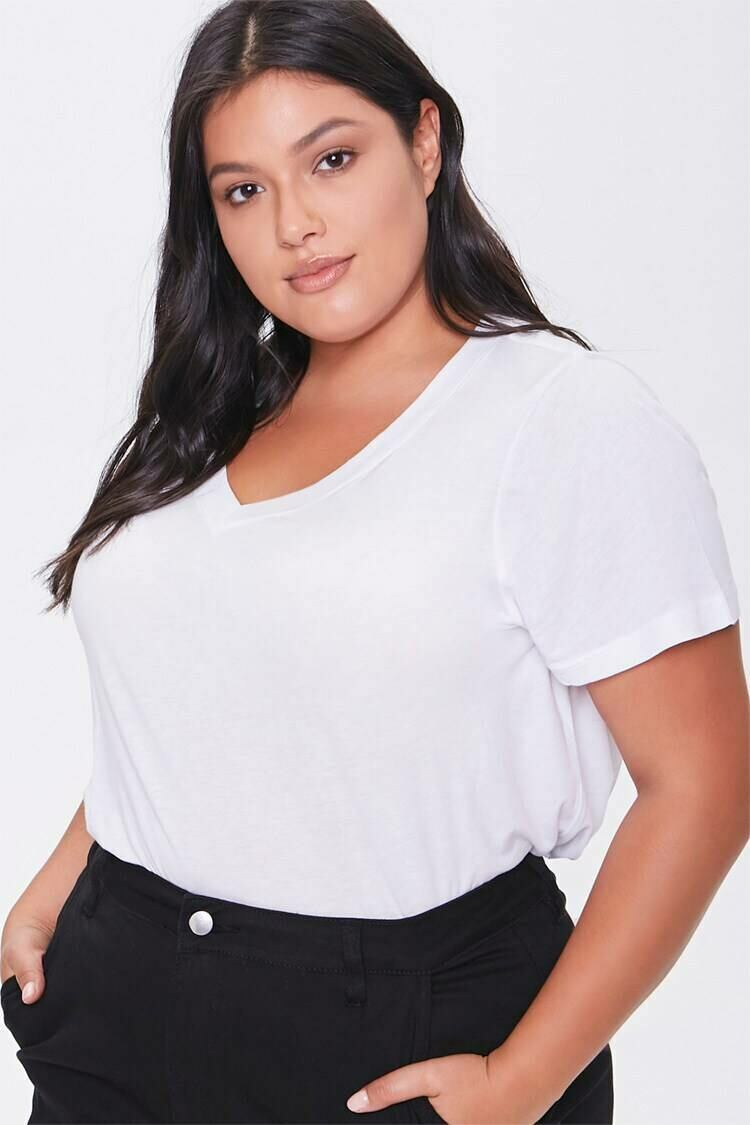 Forever 21 White Plus Size Relaxed V-Neck Tee WOMEN Women FASHION Womens T-SHIRTS