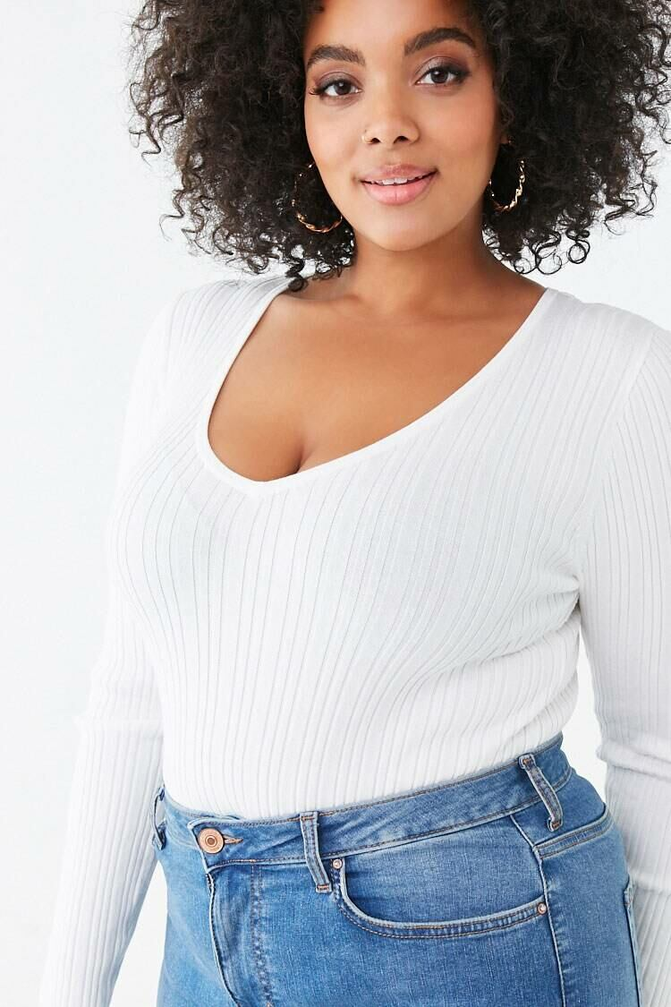 Forever 21 White Plus Size V-Neck Sweater WOMEN Women FASHION Womens SWEATERS