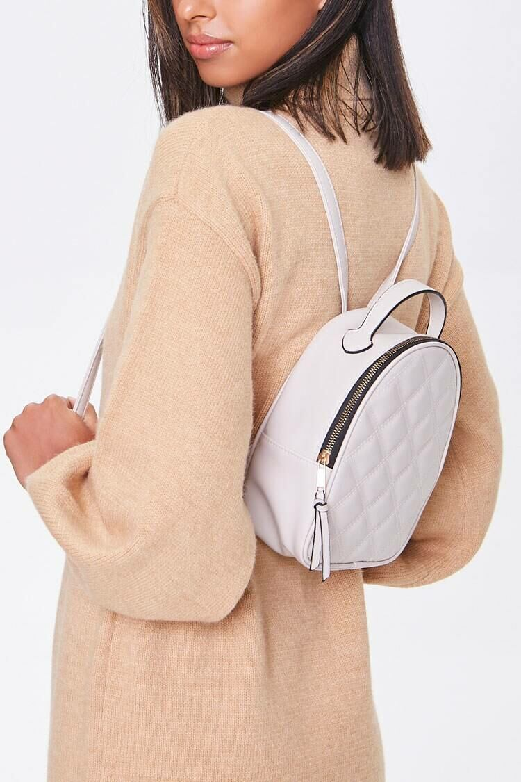 Forever 21 White Quilted Faux Leather Backpack WOMEN Women ACCESSORIES Womens BAGS