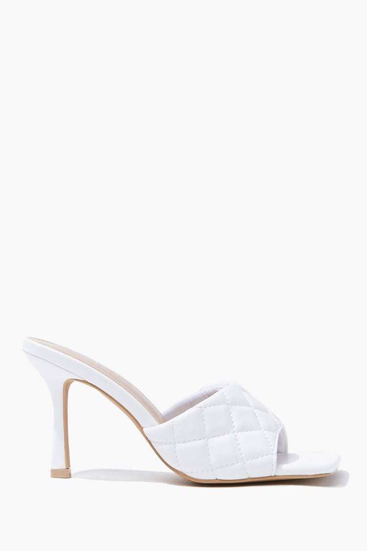 Forever 21 White Quilted Square Toe Heels WOMEN Women SHOES Womens HIGH HEELS