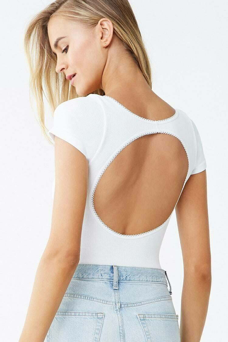Forever 21 White Ribbed Cutout Picot-Trim Thong Bodysuit WOMEN Women FASHION Womens JUMPSUITS