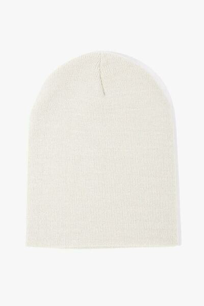 Forever 21 White Ribbed Foldover Beanie WOMEN Women ACCESSORIES Womens HATS