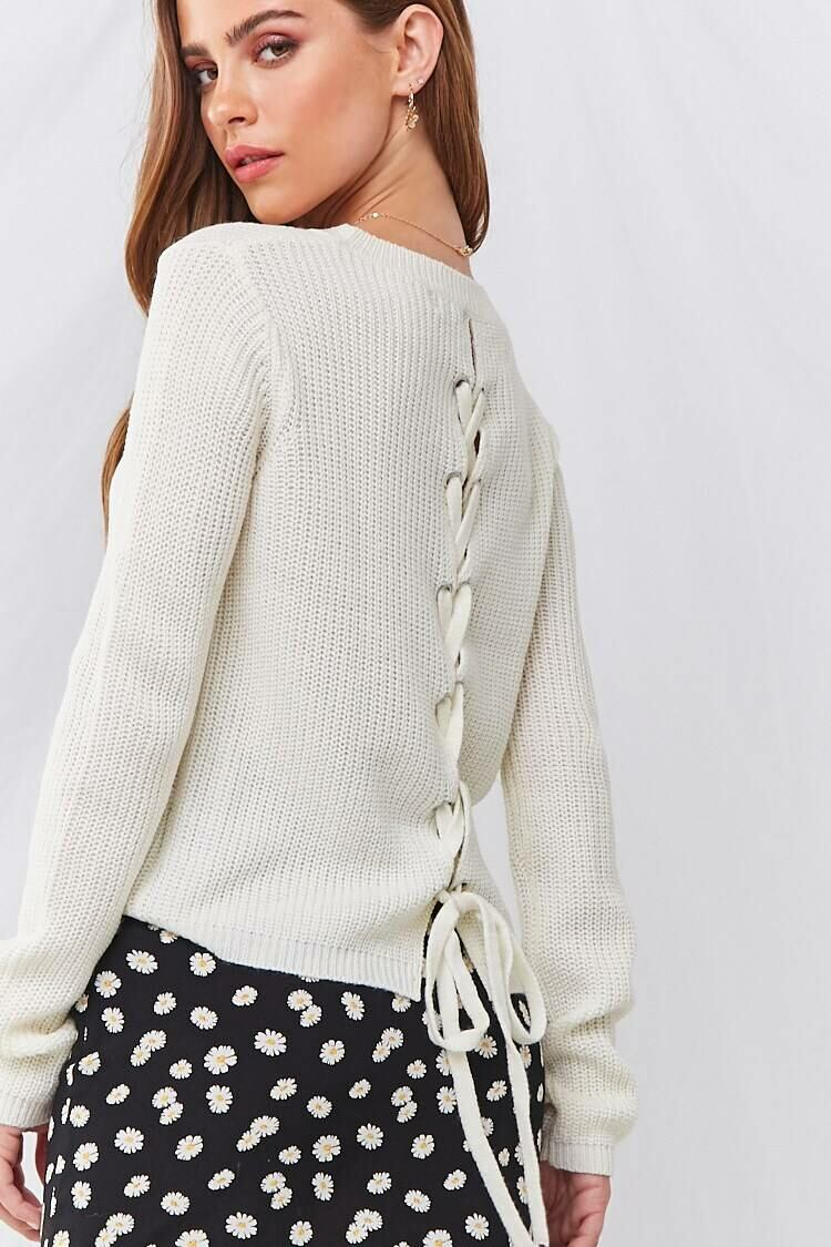 Forever 21 White Ribbed Lace-Up Sweater WOMEN Women FASHION Womens SWEATERS