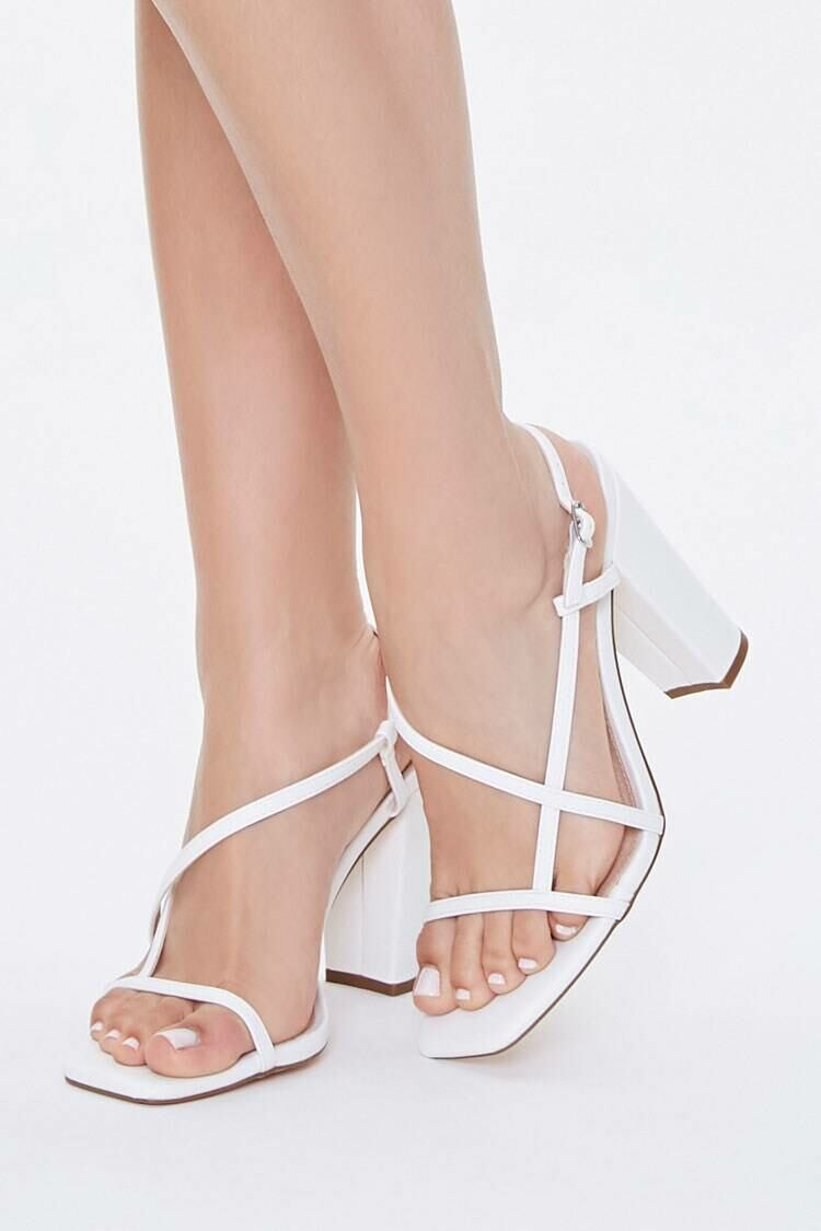 Forever 21 White Strappy Faux Leather Block Heels WOMEN Women SHOES Womens HIGH HEELS