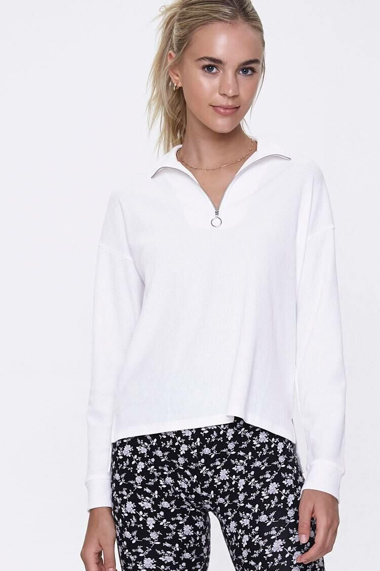 Forever 21 White Waffle Knit Half-Zip Pullover WOMEN Women FASHION Womens SWEATERS