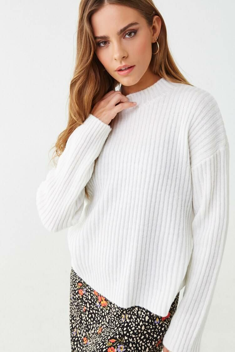 Forever 21 White Wide Ribbed Sweater WOMEN Women FASHION Womens SWEATERS