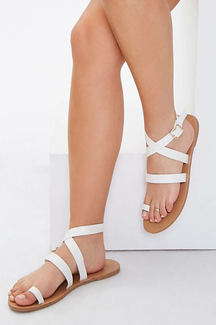 Forever 21 White Wraparound Toe-Loop Sandals WOMEN Women SHOES Womens SANDALS