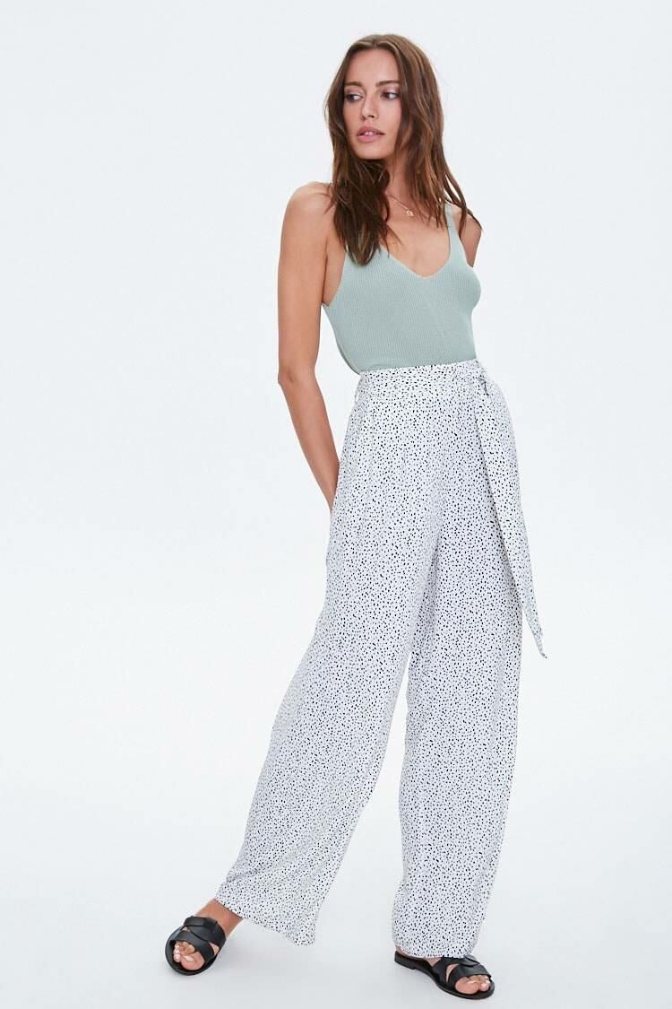 Forever 21 White/Black Speckled Belted Wide-Leg Pants WOMEN Women FASHION Womens TROUSERS