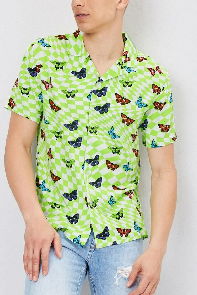 Forever 21 White/Green Classic Fit Checkered Butterfly Shirt MEN Men FASHION Mens SHIRTS