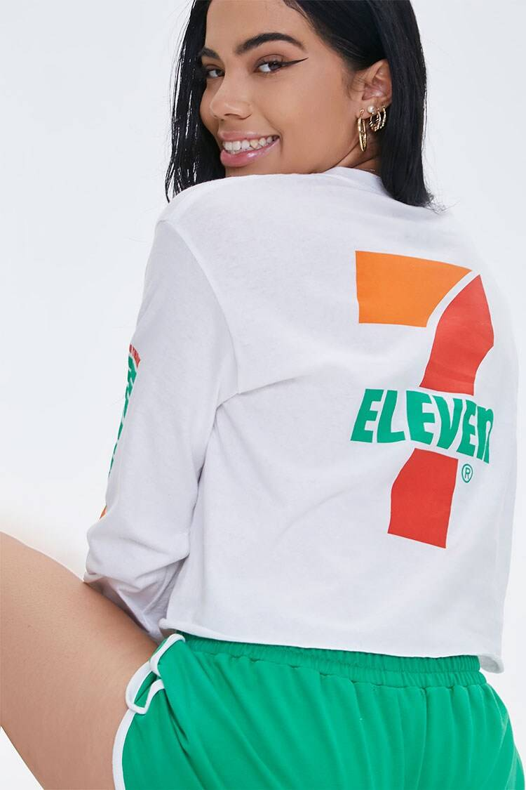 Forever 21 White/Multi 7-Eleven Graphic Long Sleeve Tee WOMEN Women FASHION Womens T-SHIRTS