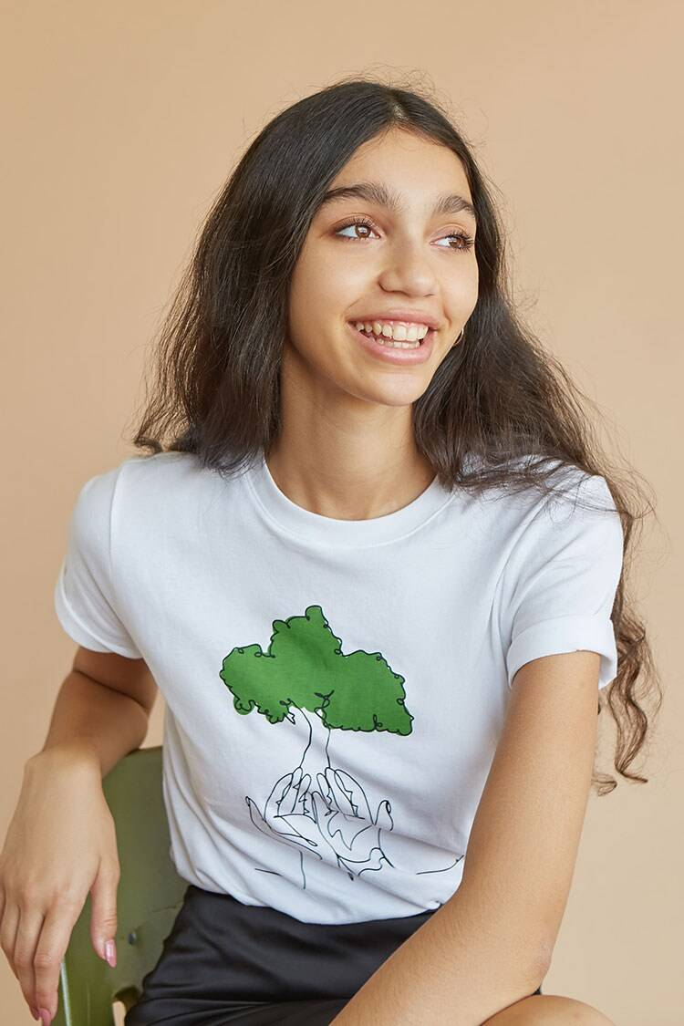 Forever 21 White/Multi American Forests Line Art Tee WOMEN Women FASHION Womens T-SHIRTS
