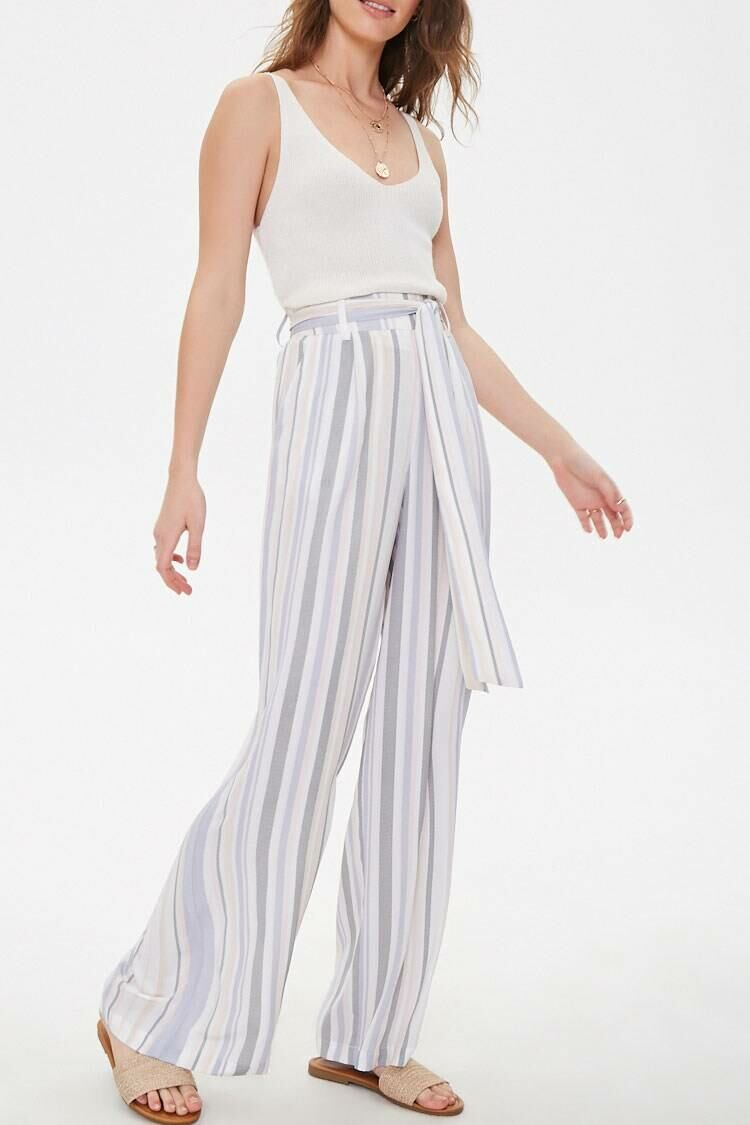 Forever 21 White/Multi Belted Striped Wide-Leg Pants WOMEN Women FASHION Womens TROUSERS