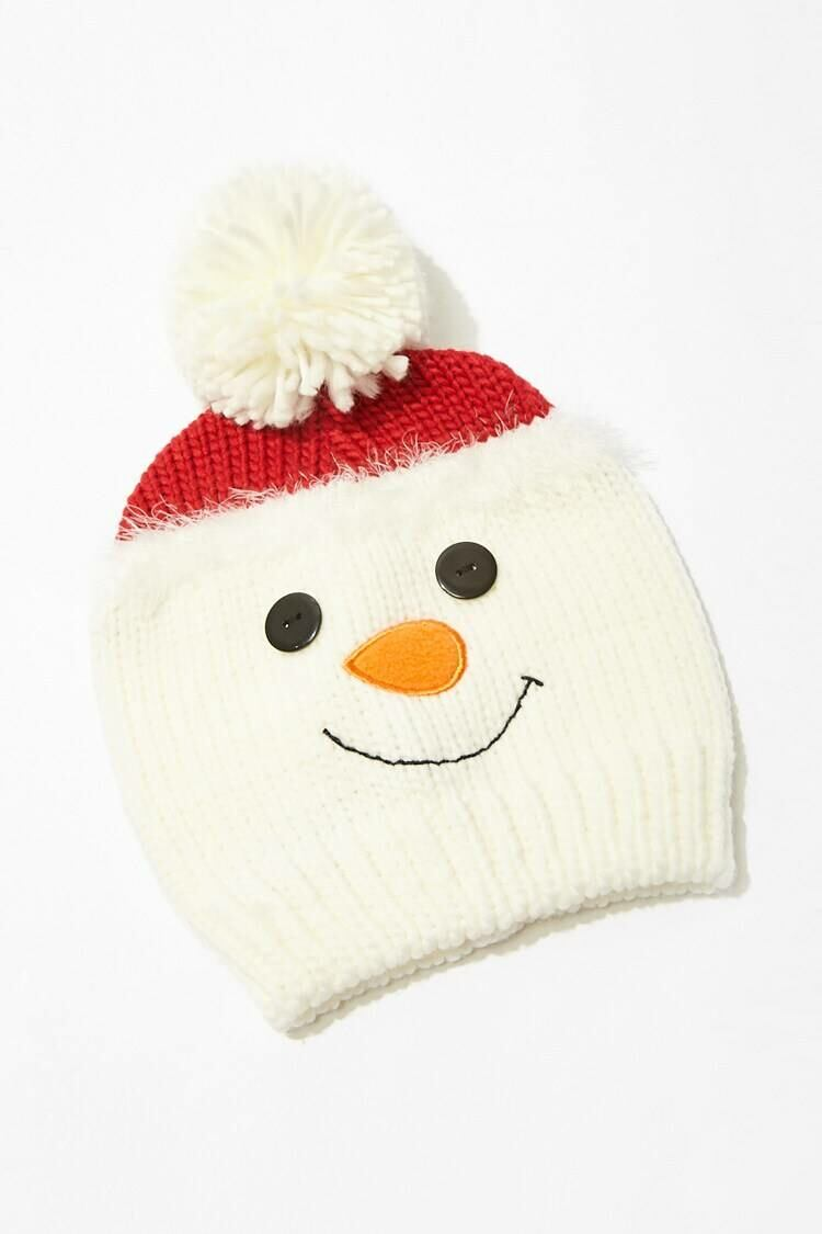 Forever 21 White/Multi Snowman Face Beanie WOMEN Women ACCESSORIES Womens HATS