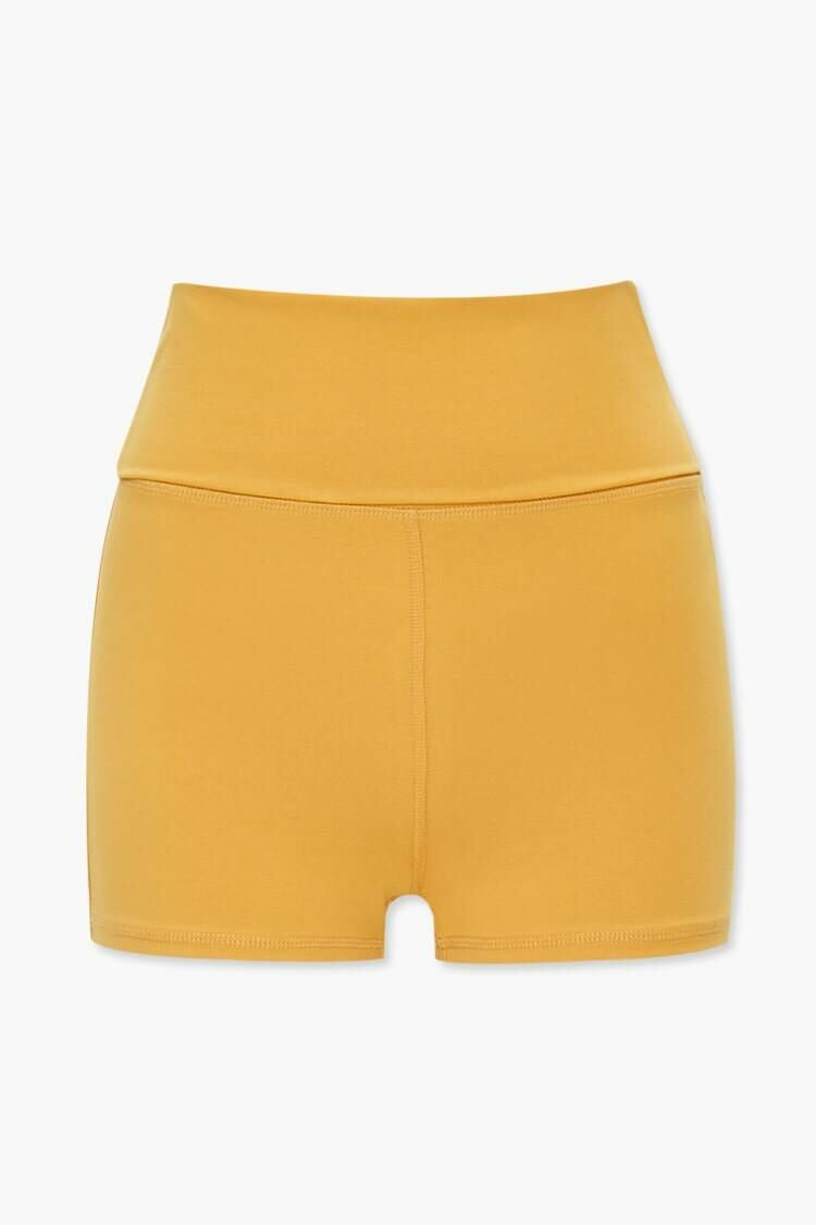 Forever 21 Yellow Active Mid-Rise Foldover Shorts WOMEN Women FASHION Womens SHORTS