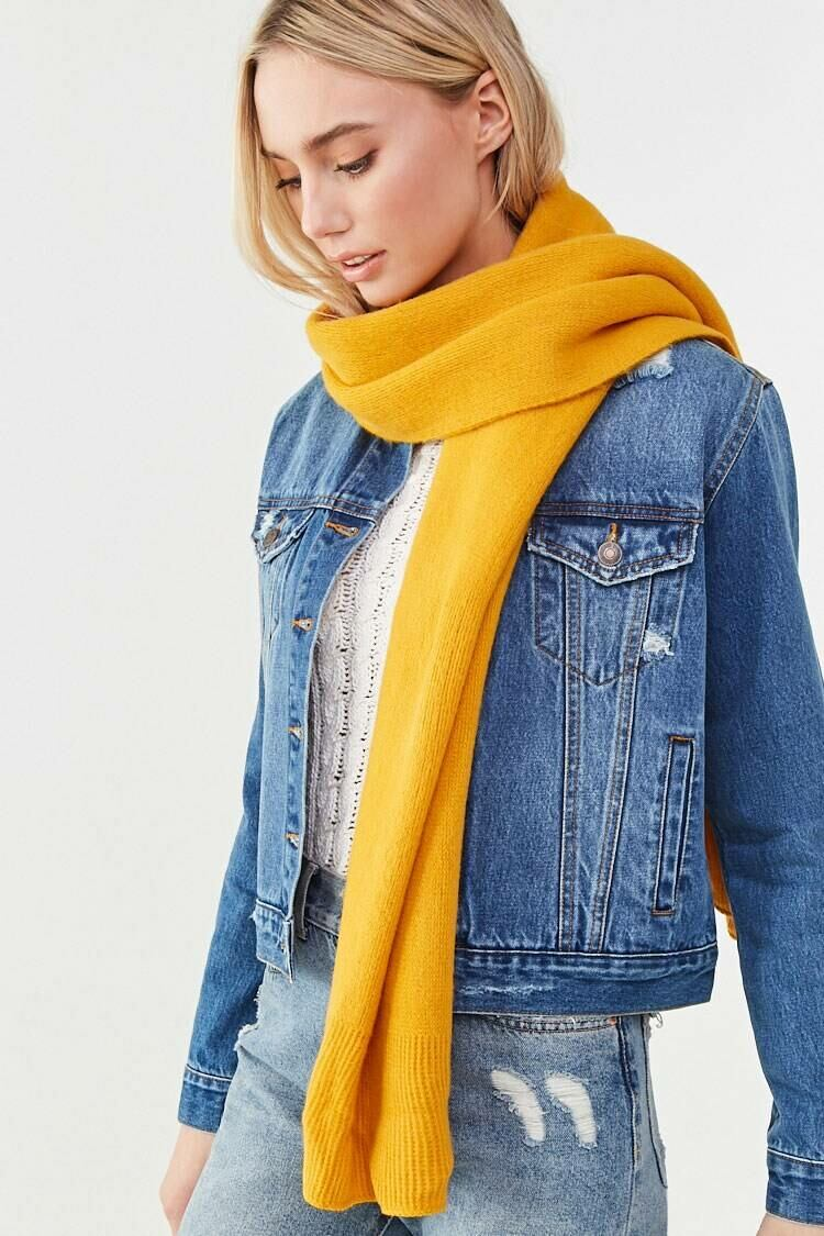 Forever 21 Yellow Brushed Ribbed Oblong Scarf WOMEN Women ACCESSORIES Womens SCARFS