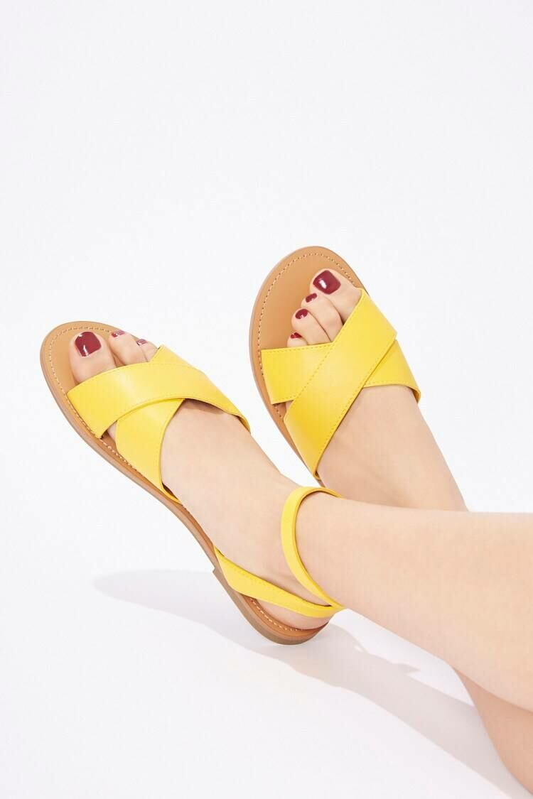 Forever 21 Yellow Faux Leather Ankle Strap Sandals WOMEN Women SHOES Womens SANDALS
