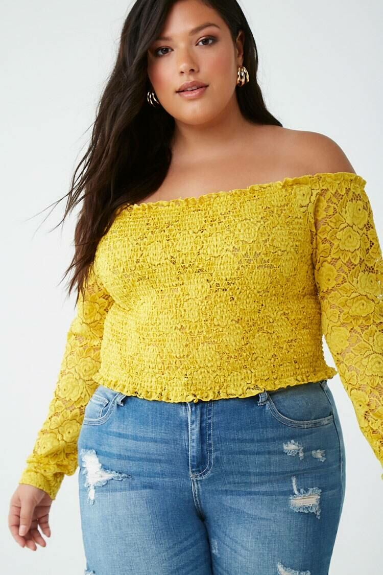 Forever 21 Yellow Plus Size Lace Off-the-Shoulder Smocked Top WOMEN Women FASHION Womens TOPS