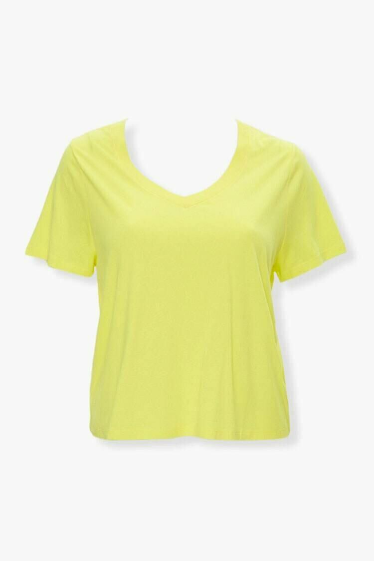 Forever 21 Yellow Plus Size Relaxed V-Neck Tee WOMEN Women FASHION Womens T-SHIRTS