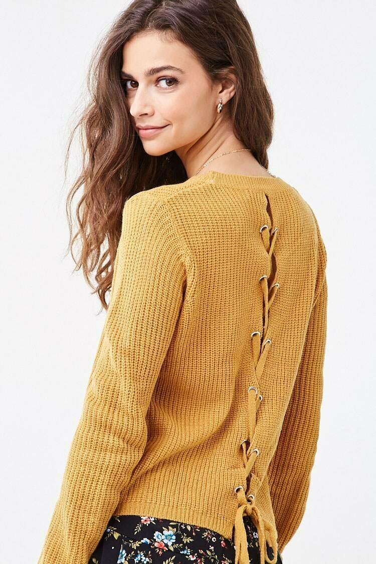 Forever 21 Yellow Ribbed Lace-Up Sweater WOMEN Women FASHION Womens SWEATERS