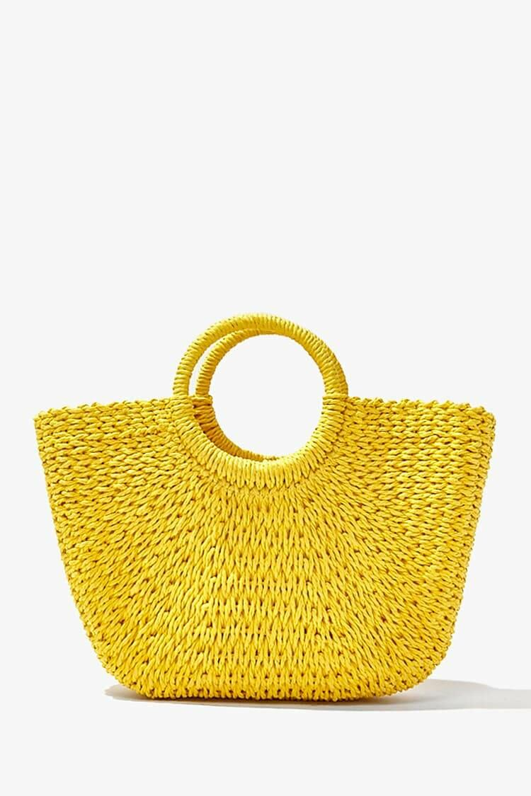 Forever 21 Yellow Straw Basketwoven Tote Bag WOMEN Women ACCESSORIES Womens BAGS
