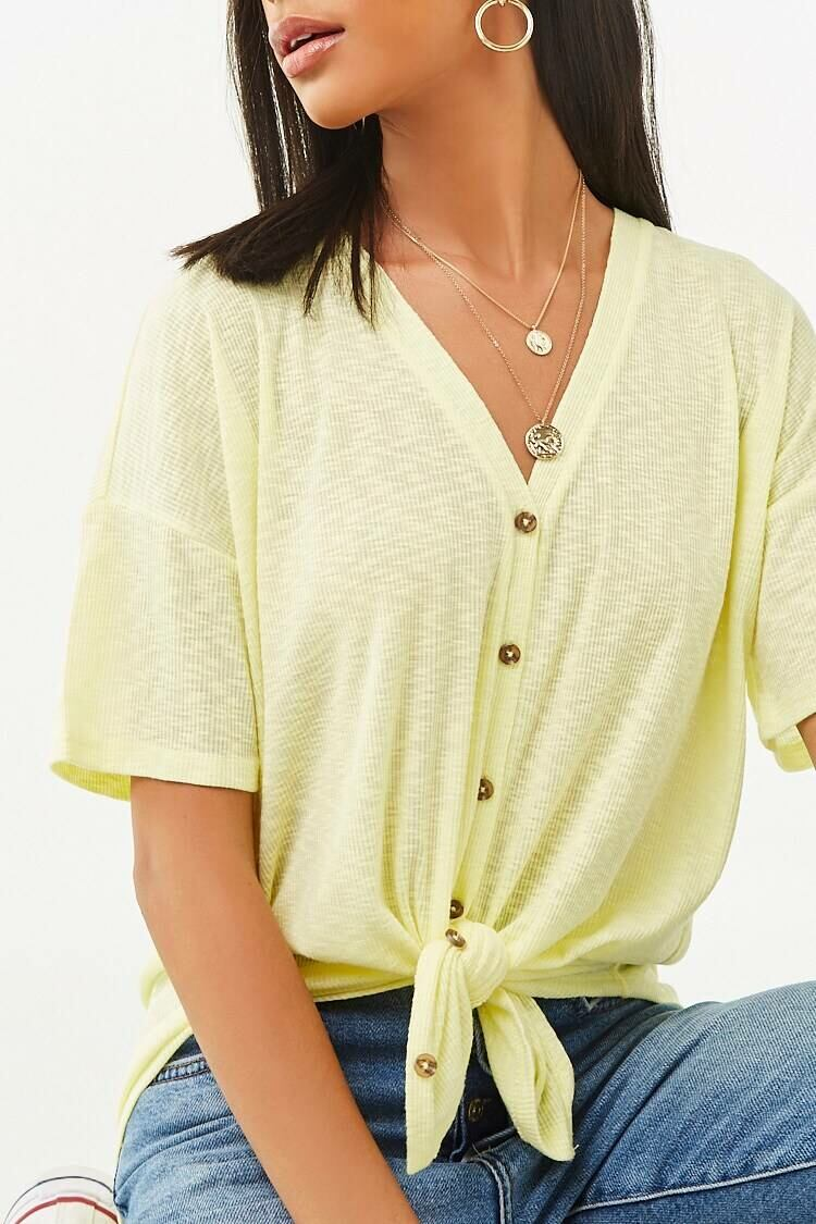 Forever 21 Yellow V-Neck Button-Front Top WOMEN Women FASHION Womens TOPS