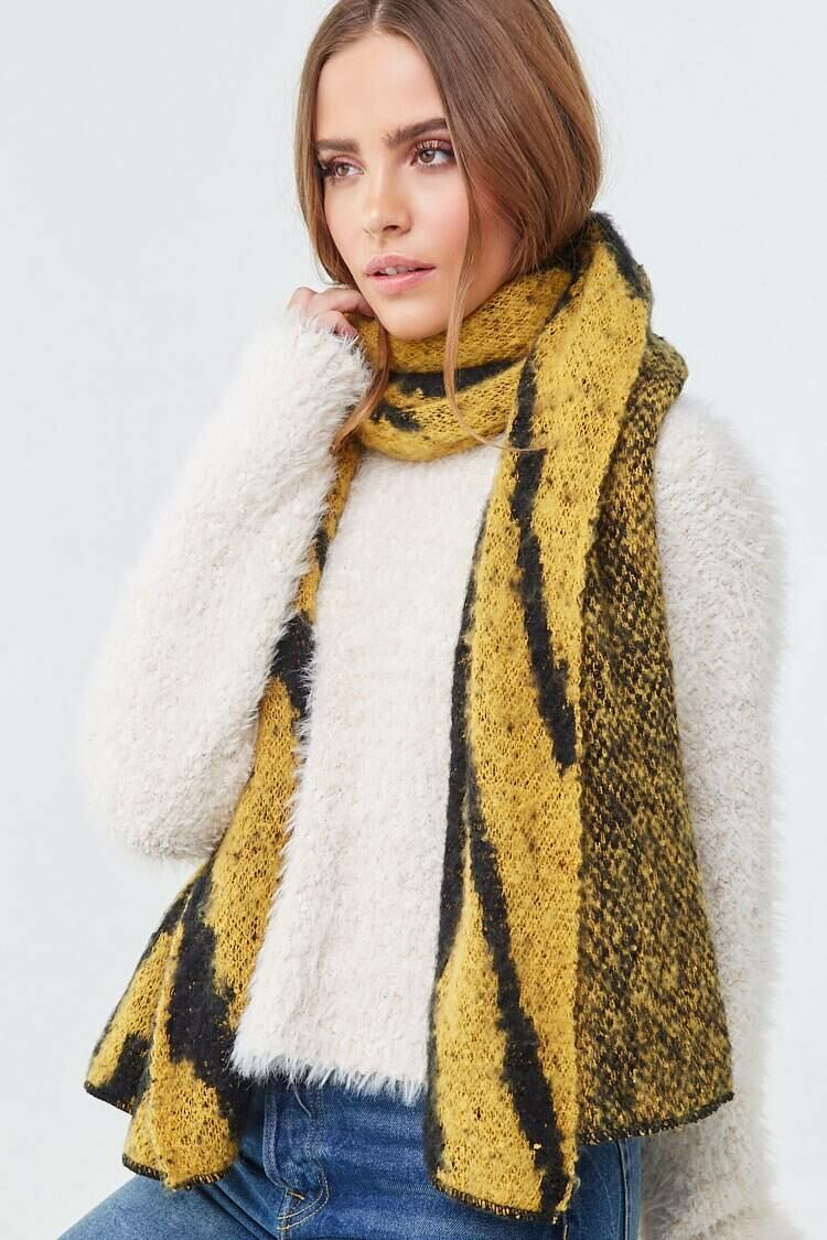 Forever 21 Yellow/Black Brushed Tiger Print Scarf WOMEN Women ACCESSORIES Womens SCARFS