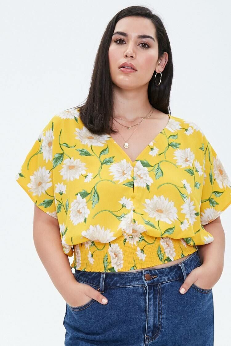 Forever 21 Yellow/Cream Plus Size Floral Smocked-Hem Top WOMEN Women FASHION Womens TOPS