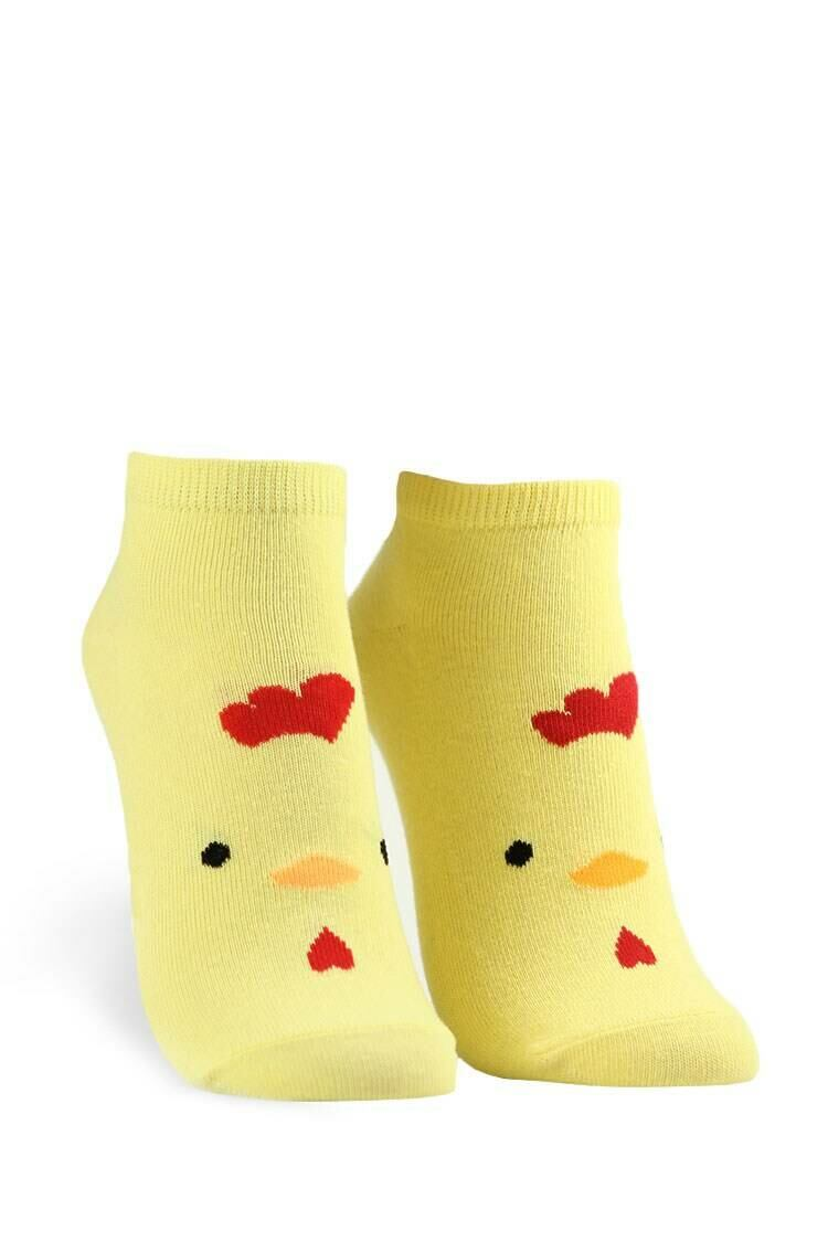 Forever 21 Yellow/Multi Chicken Graphic Ankle Socks WOMEN Women ACCESSORIES Womens SOCKS