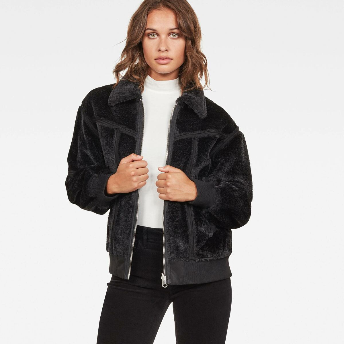 G-Star Women Black Deline Teddy Reversible Bomber Jackets and Blazers Relaxed WOMEN