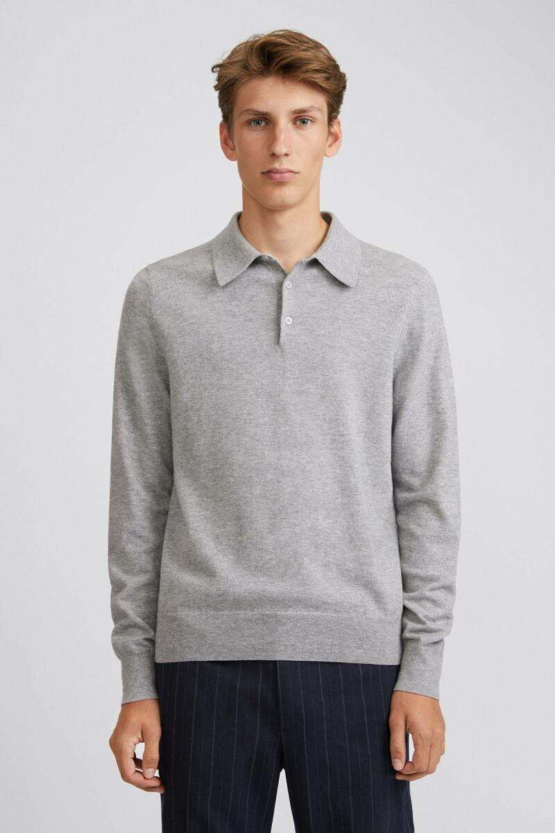 Knitted Polo Man Shirt Light Grey Melange MEN
