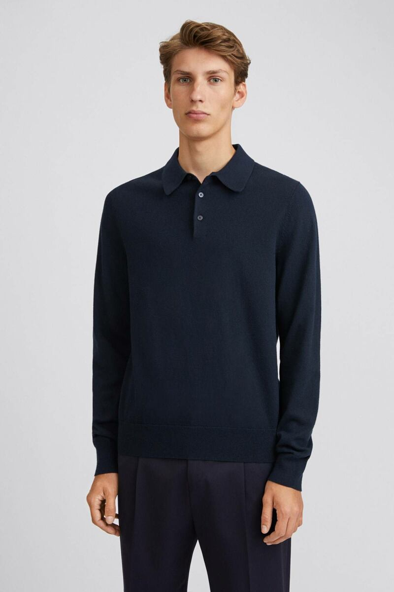 Knitted Polo Man Shirt Navy MEN