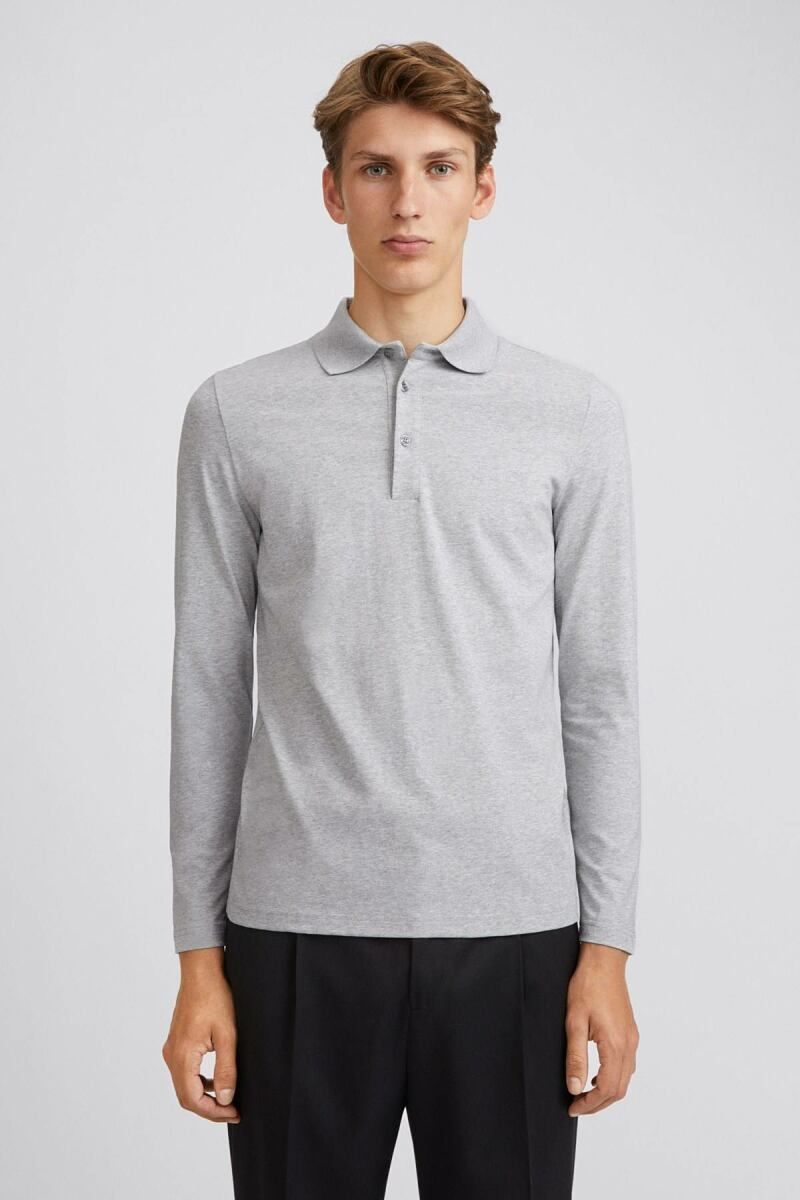 Light Grey Melange Luke Men Lycra Polo Filippa K NO MEN
